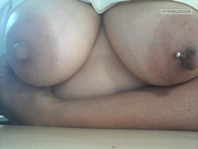 Tit Flash: Wife's Big Tits (Selfie) - Honey from United StatesPierced Nipples